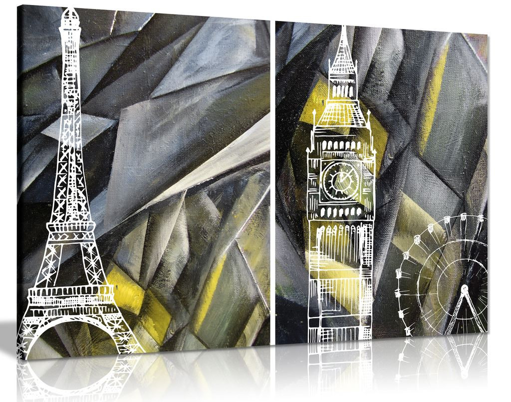 Abstract Black & White and Yellow London Paris Canvas