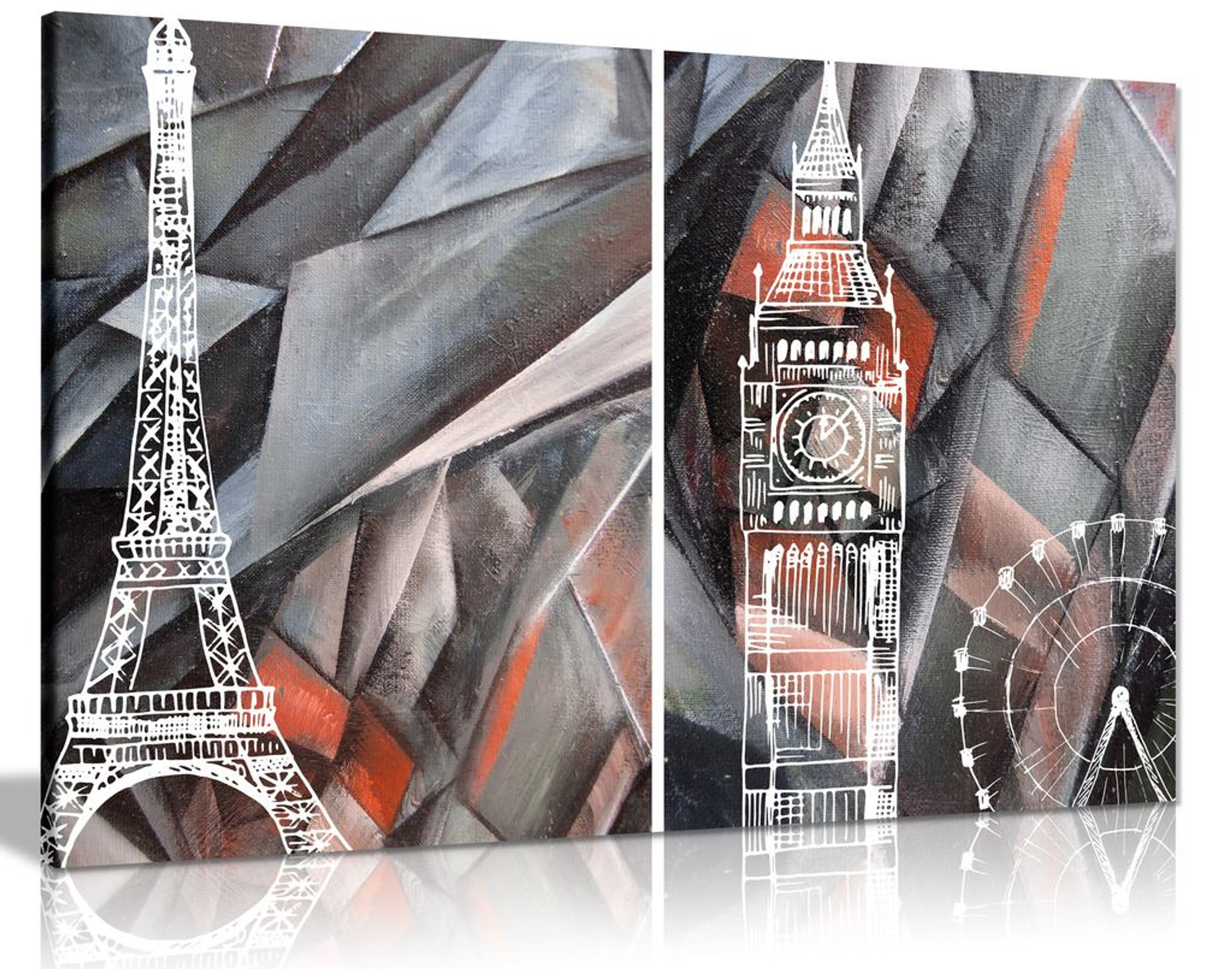 Abstract Black & White and Red London Paris Canvas