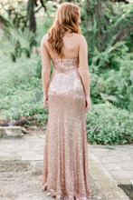 Rose Gold Blakely Sequin Bridesmaid Dress with detachable sleeves.