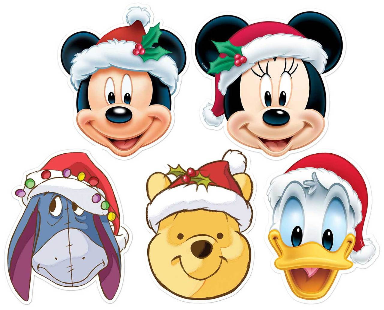 Mickey Mouse and Friends Christmas Disney 2D Card Party Face Masks 5 ...