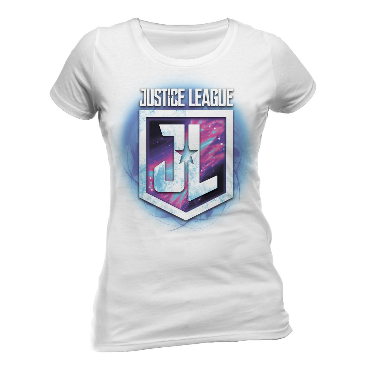 Justice League Purple Shield Logo Official Fitted Ladies T Shirt