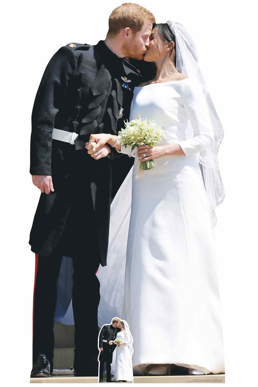 Prince Harry and Meghan Markle Royal Wedding First Kiss Cardboard Cutout