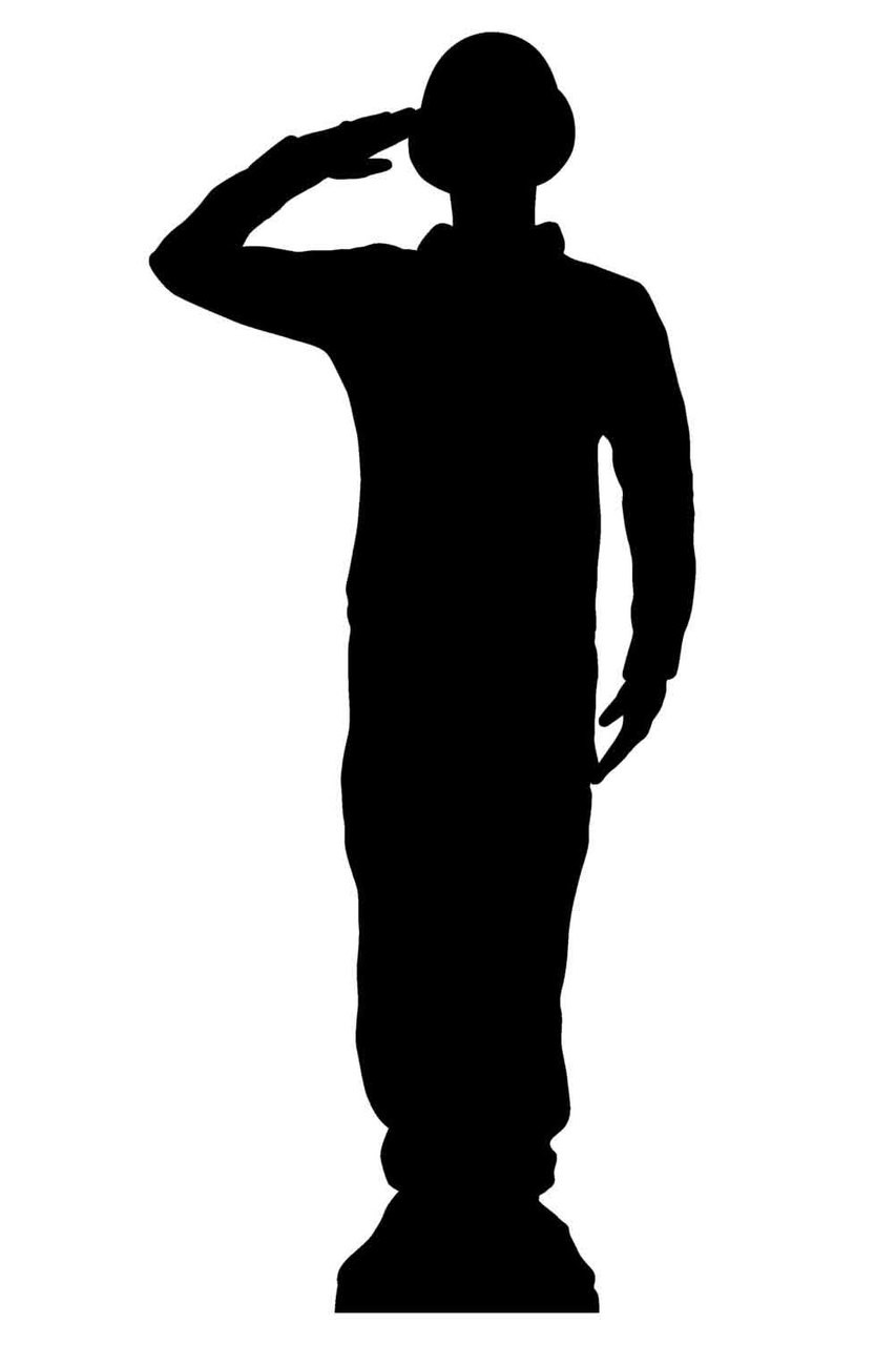 saluting wartime soldier silhouette lifesize cardboard cutout standee