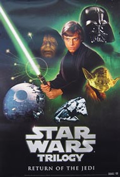 STAR WARS TRILOGY (Return of the Jedi Video) (UV COATED/HIGH GLOSS) ORIGINAL VIDEO/DVD AD POSTER