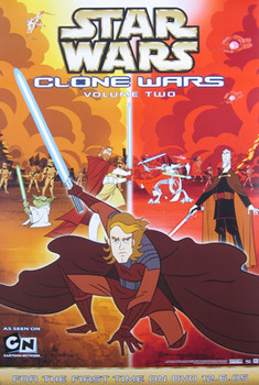 STAR WARS: CLONE WARS (Double Sided Video/DVD Vol 2) ORIGINAL VIDEO/DVD AD POSTER