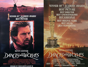 DANCES WITH WOLVES (Double Sided Video Academy Awards) ORIGINAL VIDEO/DVD AD POSTER