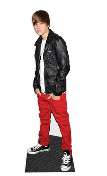 Pop star wearing Leather Jacket Cardboard Cutout