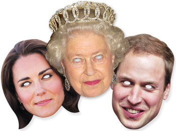 Diamond Jubilee - Royal Family Face Mask Set of 3 - Queen William and Kate