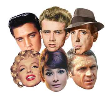Hollywood Party Face Masks Classic Set of 6 (Audrey Hepburn, Marilyn Monroe, Elvis, Humphrey Bogart, James Dean and Steve McQueen)