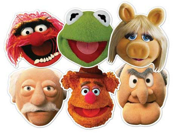 The Muppets Face Mask Set of 6 (Kermit, Miss Piggy, Animal, Statler, Waldorf and Fozzie Bear)