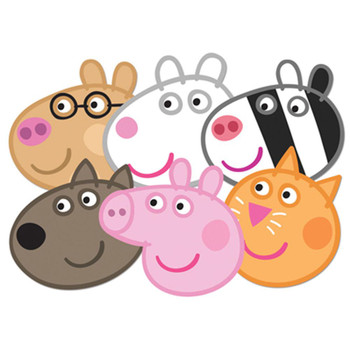 Peppa Pig Face Mask Set of 6 (Peppa, Candy, Danny, Suzie, Pedro and Zoe)