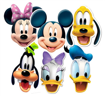 Mickey Mouse and Friends Face Masks Set of 6 (Mickey, Minnie, Donald, Goofy, Pluto and Daisy)