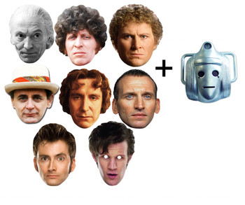 The Doctors - Doctor Who 50th Anniversary Face Masks set of 9 (includes bonus Classic Cyberman mask)