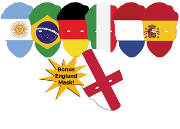 World Cup Football Contenders Flags Party Face Mask Pack of 6 + bonus England Flag Face Mask