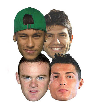 Football Stars Card Party Face Mask Variety Pack of 4