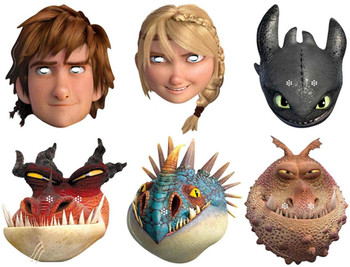 How To Train Your Dragon 2 - Variety Party Face Mask Pack of 6 (Hiccup, Toothless, Astrid, Nadder, Gronckle and Monstrous Nightmare)