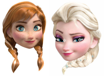 Anna and Elsa from Frozen Party Face Mask Pack Of Two