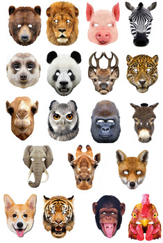 Set Of 19 Animal Party Masks