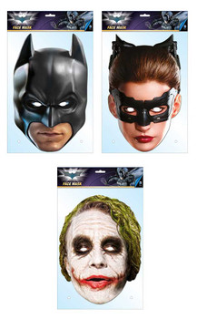 Batman Official DC Comics 2D Card Party Face Masks Variety 3 Pack