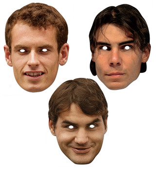 Tennis Players Set Official 2D Card Party Face Masks Variety 3 Pack