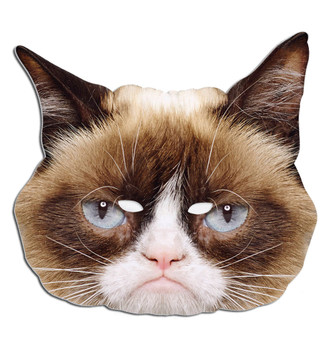 Grumpy Cat Animal Single Card Party Face Mask