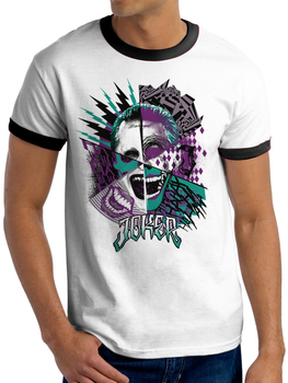 Suicide Squad Joker Montage  DC Comics Official Unisex White T-Shirt