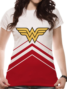Wonder Woman Cheerleader Logo Sublimation Ladies Fitted White T-Shirt