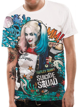 Suicide Squad Graffiti Sublimation Official DC Comics White Unisex T-Shirt