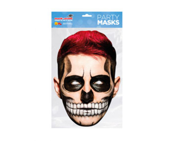 Day of the Dead Red Zombie Male Single 2D Card Party Face Mask