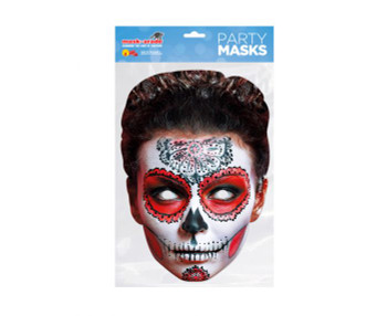 Day of the Dead Red Zombie Female Single 2D Card Party Face Mask