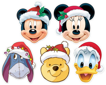 Mickey Mouse and Friends Christmas Disney 2D Card Party Face Masks 5 Pack