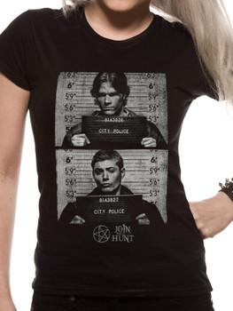 Supernatural Mug Shots Official Black Ladies Fitted T-Shirt