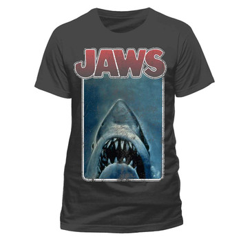 Jaws Vintage Poster Style Official Grey Unisex T-Shirt