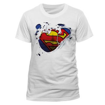Superman Torn Logo White Official DC Comics Unisex T-Shirt