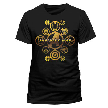 Avengers: Infinity War Character Icons Official Black Unisex T-Shirt