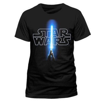 Star Wars Logo and Saber Official Unisex Black T-Shirt