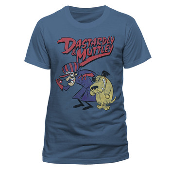 Wacky Races Darstardly and Muttley Official Unisex Blue T-Shirt