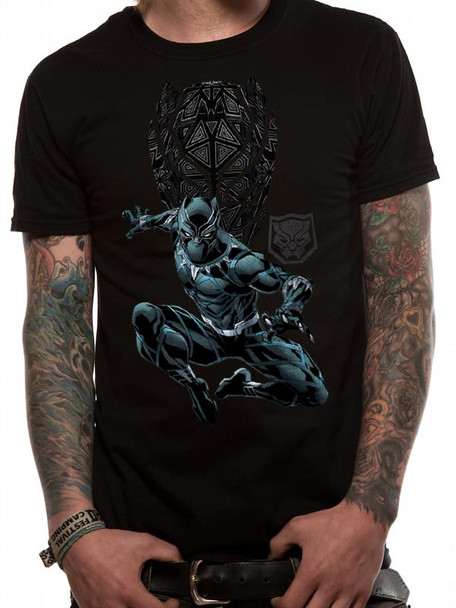 Black Panther Shield and Logo Official Marvel Black Unisex T-Shirt