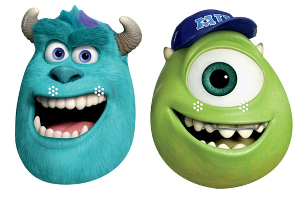 Sulley and mike party face masks set of 2 monsters university voltagebd Choice Image