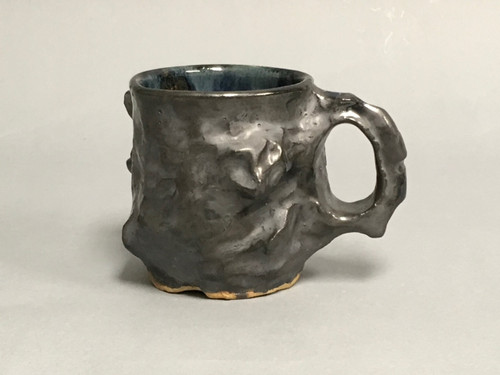 Meteorite Mug with a Blue Nebula Interior, roughly 12-14 ounce size, (SK304)
