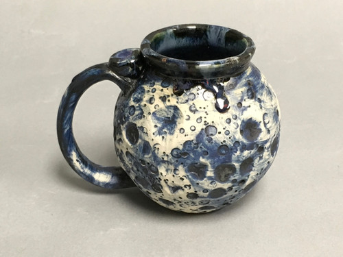 Blue Moon Mug with a Blue Nebula Interior and Handle Drip, roughly 16 ounce size, (SK495)