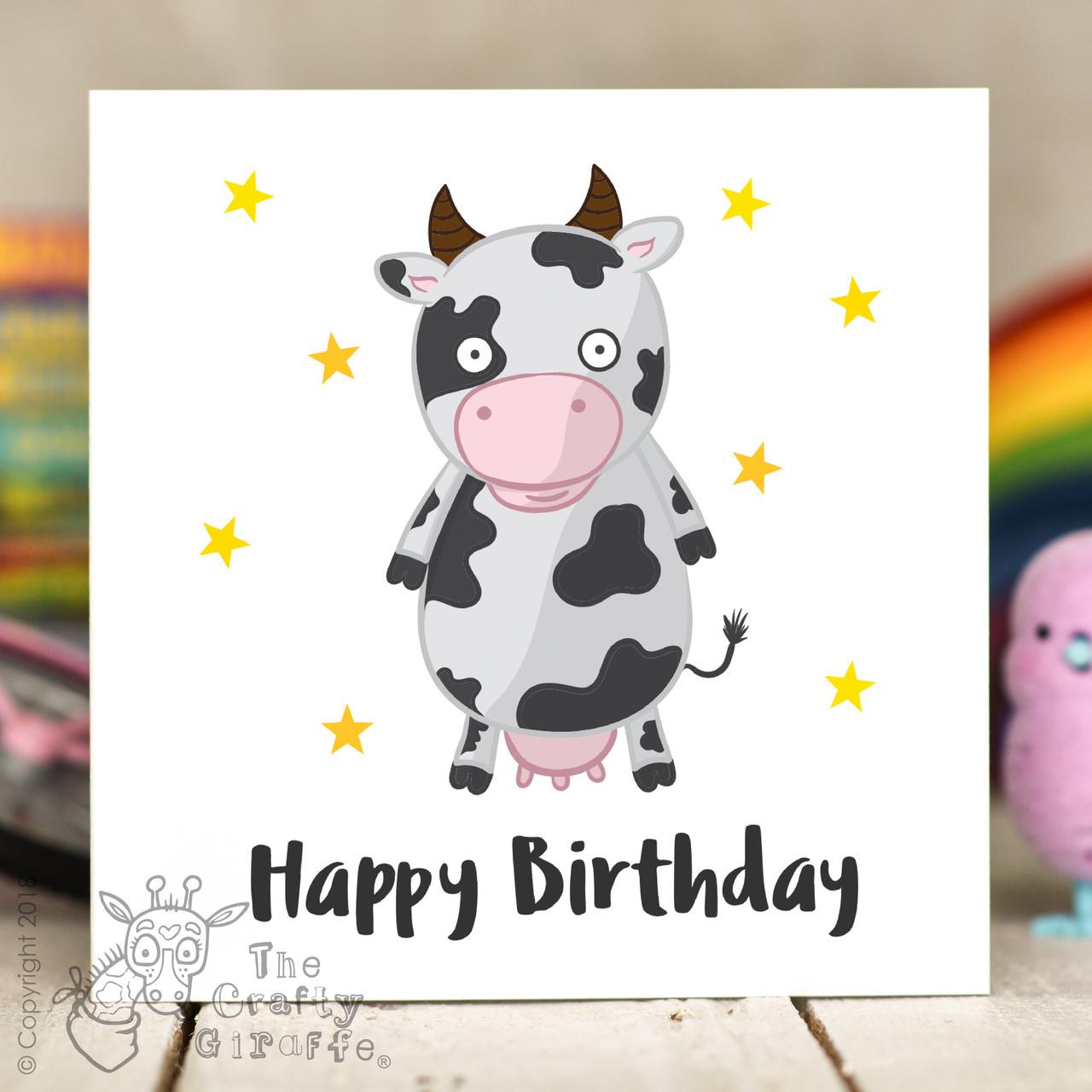 Cow birthday card the crafty giraffe cow birthday card bookmarktalkfo Images