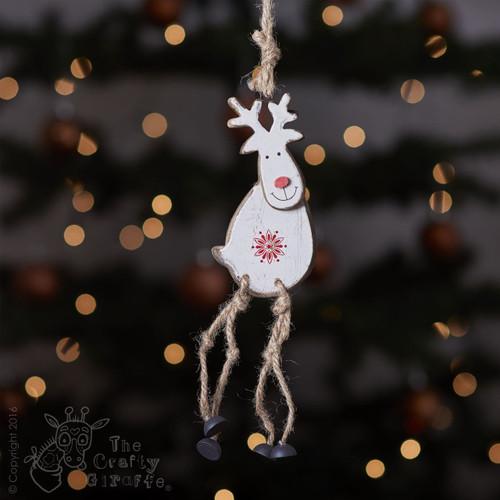 Hanging White Reindeer Decoration