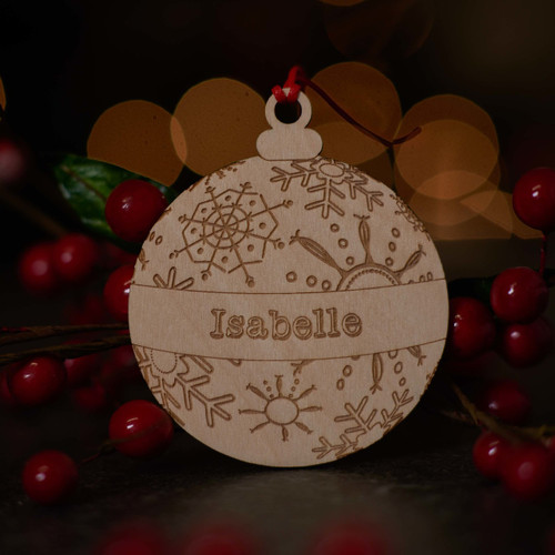 Personalised Snowflake Bauble Wooden Decoration