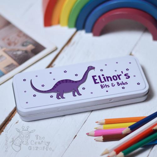 Personalised Purple Dinosaur Pencil Tin