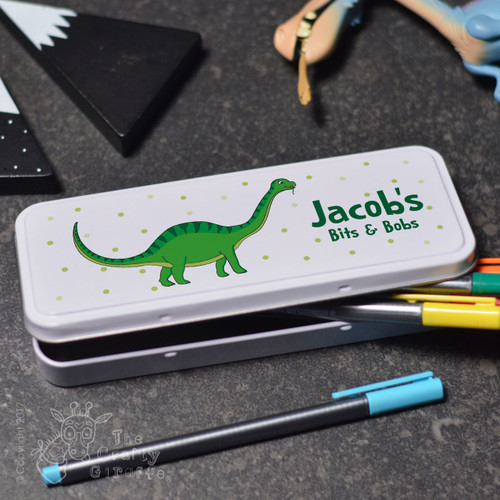 Personalised Green Dinosaur Pencil Tin