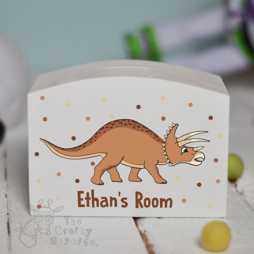 Personalised Triceratops Money Box