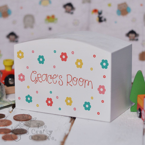 Personalised Flowers Money Box