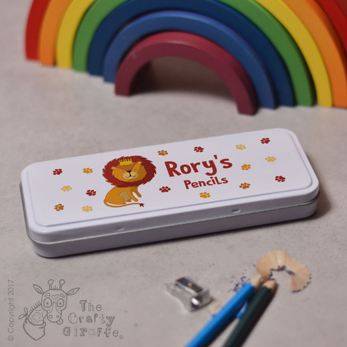 Personalised Lion Pencil Tin