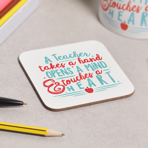 A teacher takes a childs hand Coaster